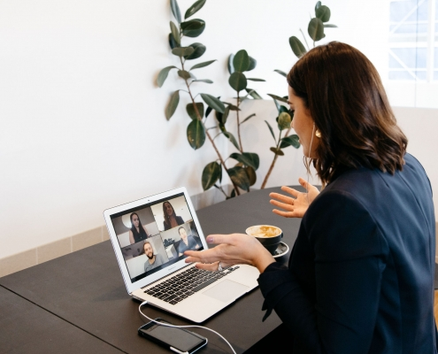 Leanne Webber during a virtual mastermind on her laptop